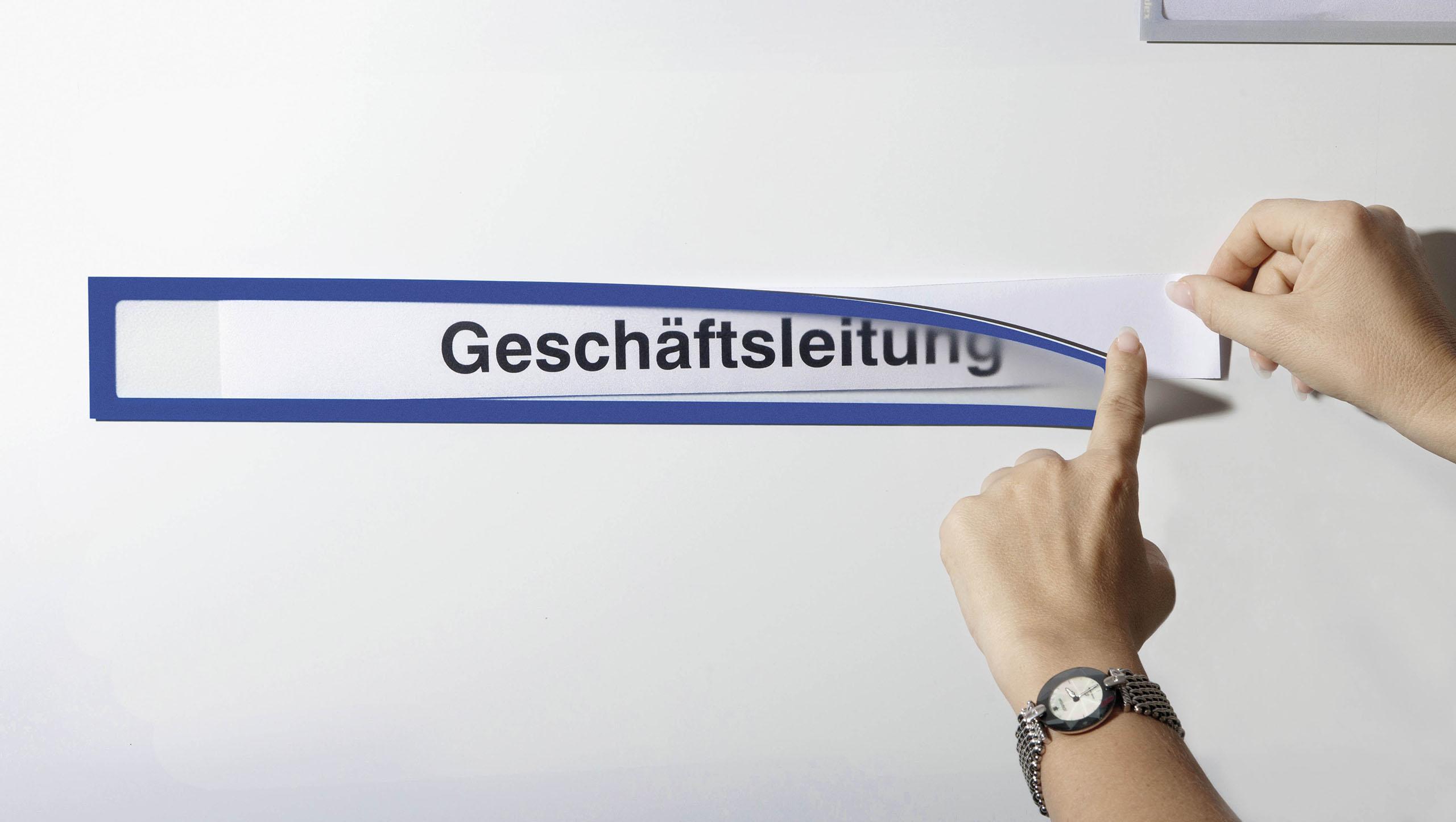 Infotaschen magnetisch für Überschriften DIN A4 in Blau